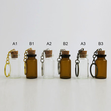 30 x 8ml Clear Cute Mini Small Glass Bottle Cork Pendant Vial Key Chain Adjustable For Wedding Gift Using Beautiful for Women