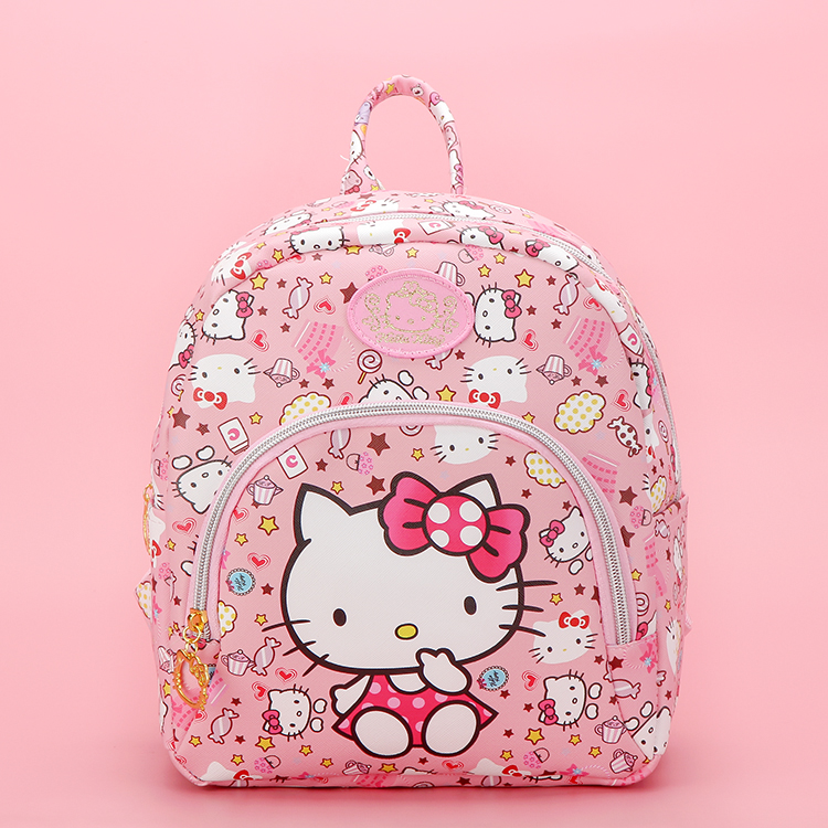 New Cartoon Cute Genuine Hello Kitty Backpack Hellokitty Bag High Quality Pu Pink School Bags Melody Travel Bag For Girls Gift
