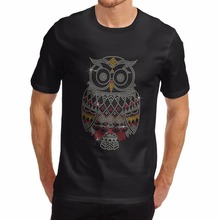 T Shirt 2017 New Cool Shirts Online Design Animal Theme Shiny Cute Owl Crew Neck Short-Sleeve Mens