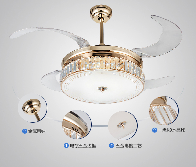 Led Dimming Ceiling Fan Lights Crystal Folding Retractable Modern Simple Livingroom Dining Room Bedroom Lamp