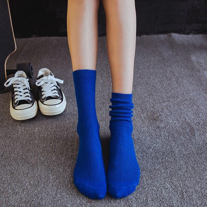 Senhoras meias de lazer empilhados meias meias do vintage dois-agulha cor sólida barra vertical U8005