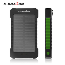 X-Dragan Solar Battery Charger Dual USB Power Bank Outdoor Solar Panel with LED Light