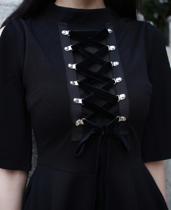 Ribbon Decorated Gothic Women Black Dress Japanese Harajuku Punk Cross Straps Tie Slim A Line Dress 2