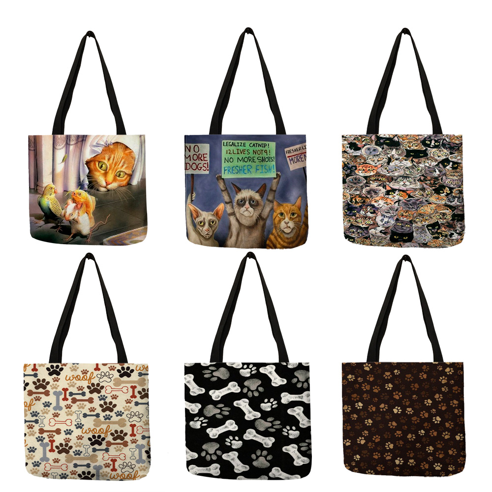 Personalized Women Portable Outdoor Shoulder Bag 3D Printed Cartoon Cat Bone Footprint Pattern Handbag Daily Office Tote Bags