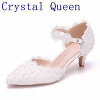 Crystal Queen Women Shoes White Lace Wedding Shoes 5CM High Heels Shoes PUMPS White Lace Sweet Princess Party Mary Janes Heels