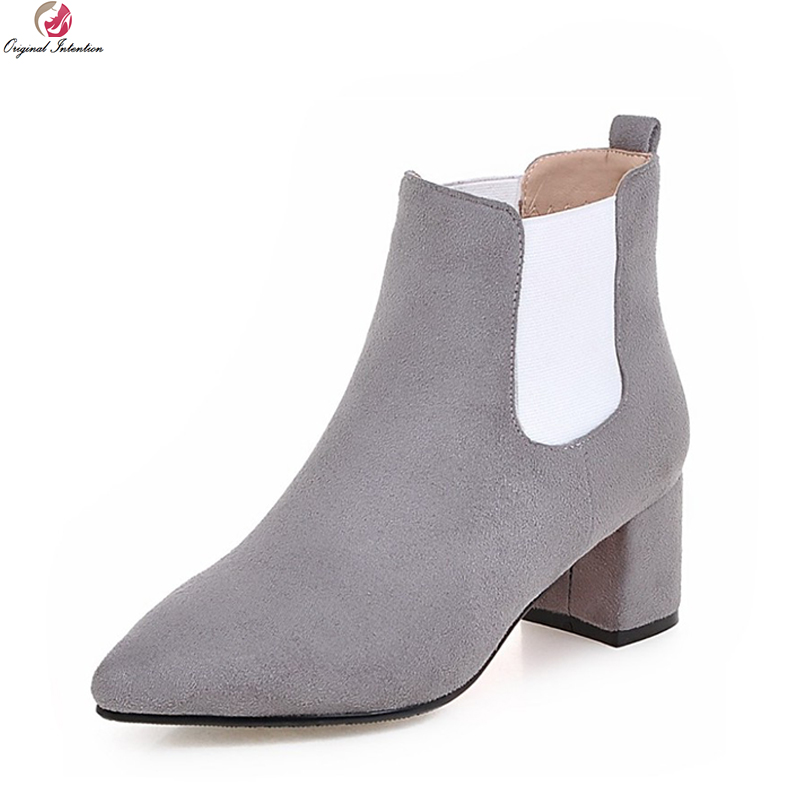 Original Intention New High-quality Women Ankle Boots Elegant Pointed Toe Square Heels Black Red Grey Shoes Woman US Size 4-10.5 original intention high quality women ankle boots pointed toe square heels boots fashion black brown shoes woman us size 4 10 5
