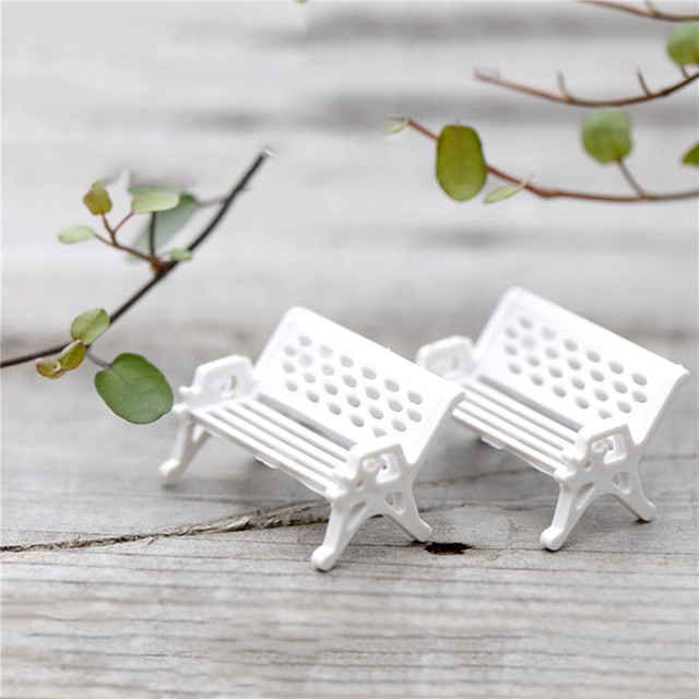 2Pcs White Chair For Bonsai Decoration