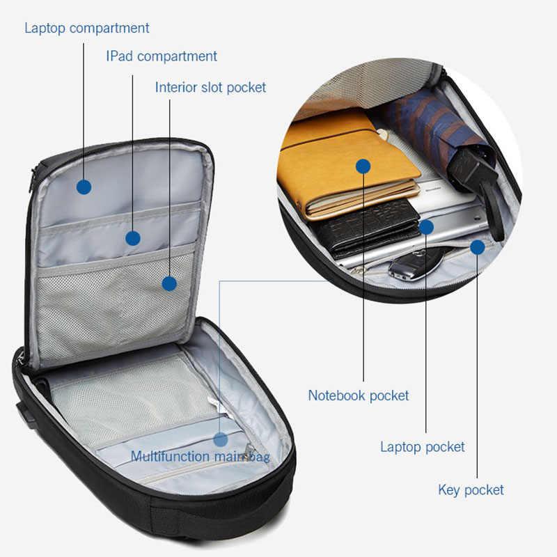 OZUKO جديد للرجال USB شحن حقيبة صدر للرجال طارد المياه حقيبة كروسبودي الذكور سعة كبيرة حقيبة كتف رحلة قصيرة رسل حقائب