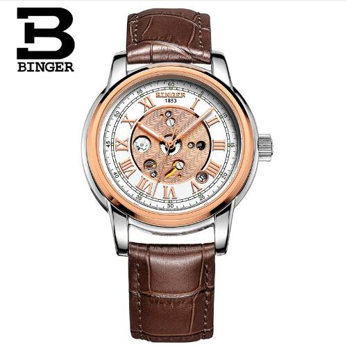 Switzerland Binger New Leather Band Automatic Mechanical Skeleton Watch For Men Fashion Gear Wrist Watch Reloj Hombre Horlo туфли ecco 15 242603 01001