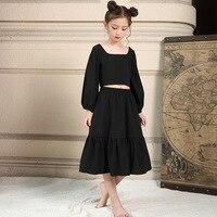 Maggie'sウォーカー子供服セット女の子のドレススーツ王室スタイルランタンスリーブシャツ+スカート子供誕生日パーティードレ