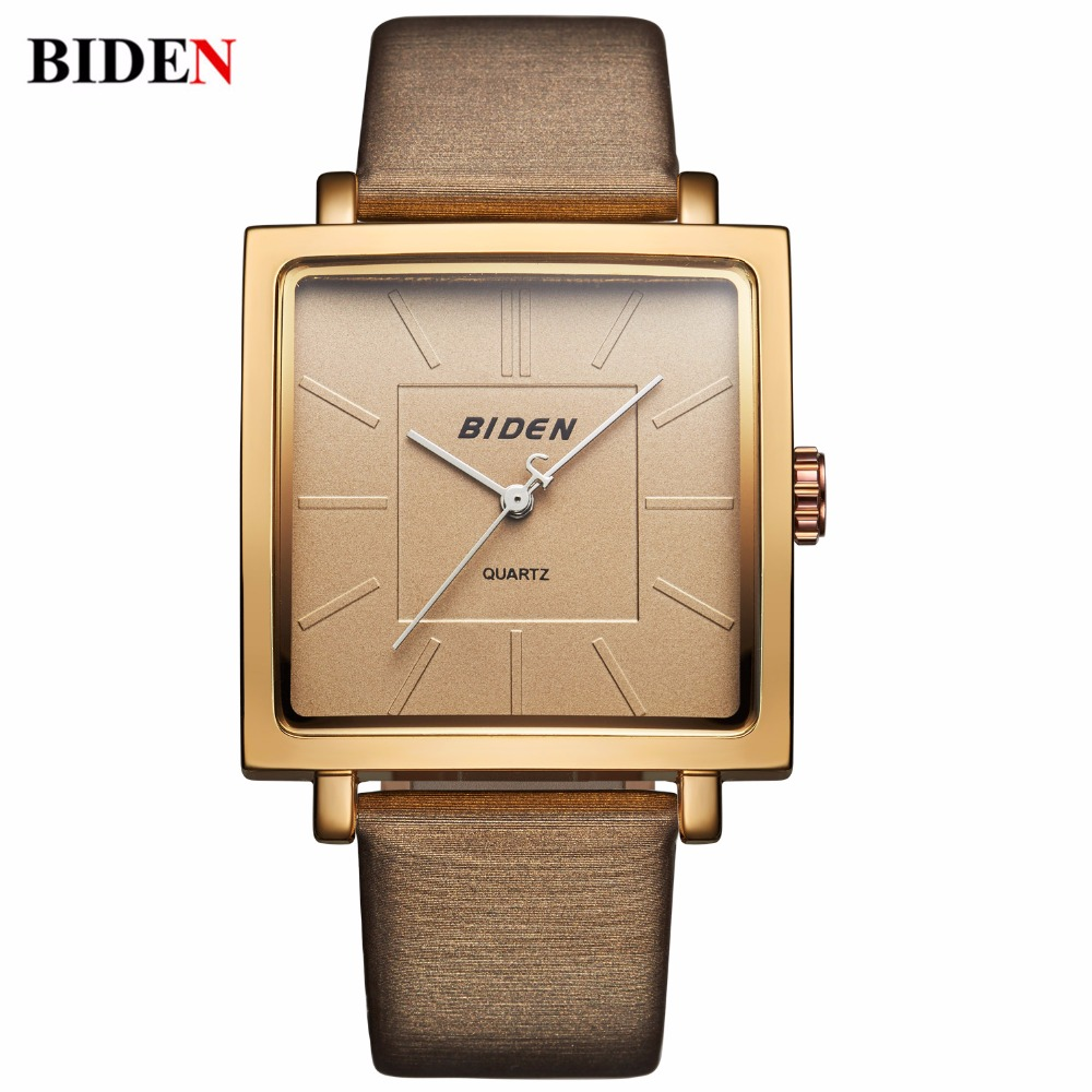 2017 Popular BlDEN Top Brand Square Dial LADIES DRESS Watches Fashion Women Girls Charm Leatather Watch Quartz Clock Reloj Mujer