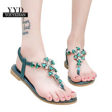 9f472f8667f19 YOUYEDIAN Mode sandales femmes Strass Plat Talon Anti Dérapage Plage  Chaussures Sandales Pantoufle sandalias mujer 2018
