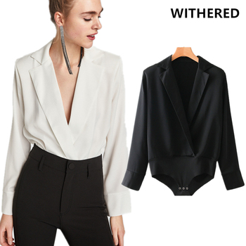 Withered england style urban bodysuit women long sleeve sexy deep v-neck solid color bodysuit women body feminino tops plus size