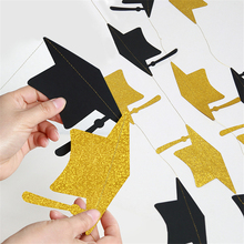 4M Black Gold Banner Graduation Celebration Bachelor Hat For Decoration Ceremony Layout Supplies