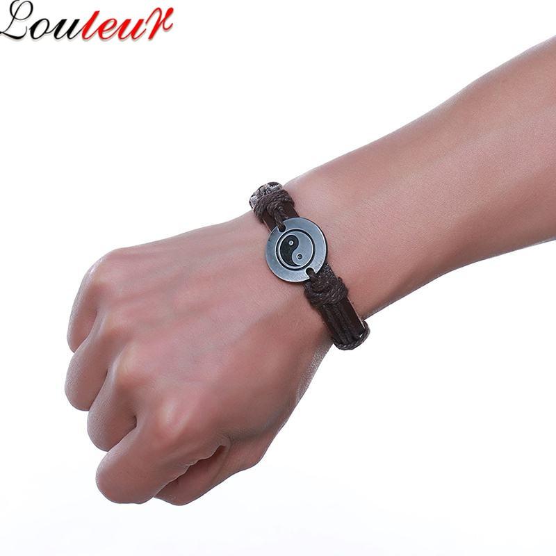 LOULEUR New Fashion Brown Genuine Leather Bracelet Men Vintage Double Layer Yingyang Gossip Charm Bracelet For Men Jewelry