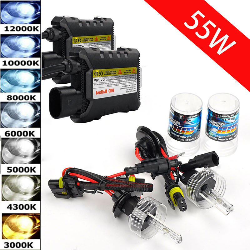 55W 12V Xenon Headlights H7 HID Conversion Kit H3 H1 9006 9005 H4 H11 H8 H9 H10 H13 3000k 4300k 6000k 8000k 12000K Bulbs for Car стоимость