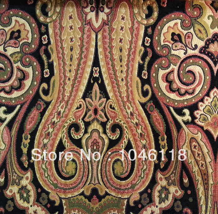 luxurious paisley chenille jacquard woven fabric for hotel villa curtain sofa decoration 280cm width sell by - Decorator Fabric