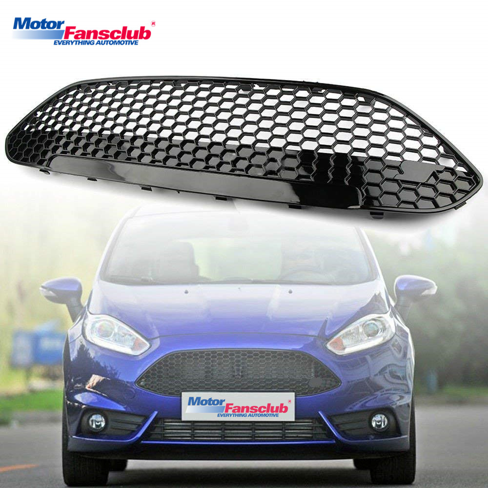 Car Racing Grille Trim For Ford Fiesta 2013 -2017 ABS Auto Front Bumper Grill Cover Modify Radiator Honey Mesh With ST Letter 2pcs car racing grille for ford fiesta 2014 2015 2016 grill abs black radiator chrome front bumper upper lower modify mesh