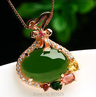 925 Silver Gold Natural Green HeTian Jade Inlay Gem Stone Lucky Pendant Necklace Certificate Fashion Jewelry