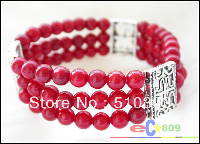 Elasticity 8inch 6 mm round red coral bead Bracelet