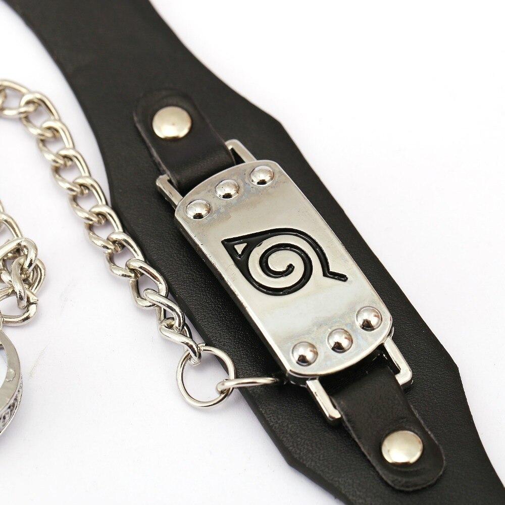 MS Jewelry NARUTO Leather Bracelet Anime Link Charm Bracelets Cosplay Punk Bangle Men Women
