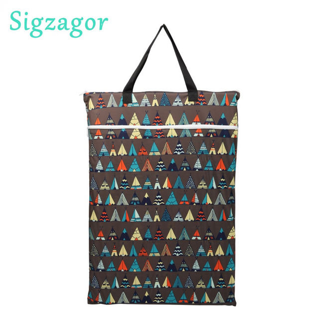 Sigzagor 5 Large Hanging Wet Dry Pail Bags Cloth Diaper Insert Ny