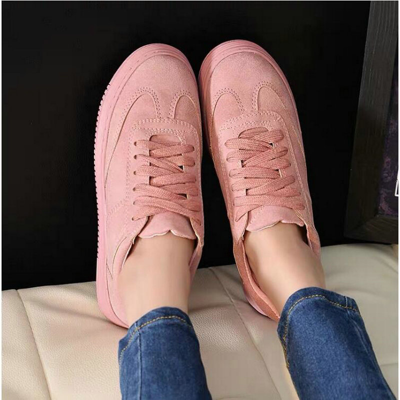 2019 Sneakers  Women Casual Low Top Leather Shoes Lightweight White Pink Shoes Breathable Creepers Platform Flats Shoes  LL-05