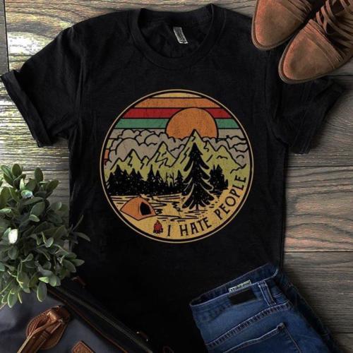 Camping I Hate People I Love Camping Vintage T Shirt Black Cotton Men Cartoon t shirt men Unisex New Fashion tshirt Loose