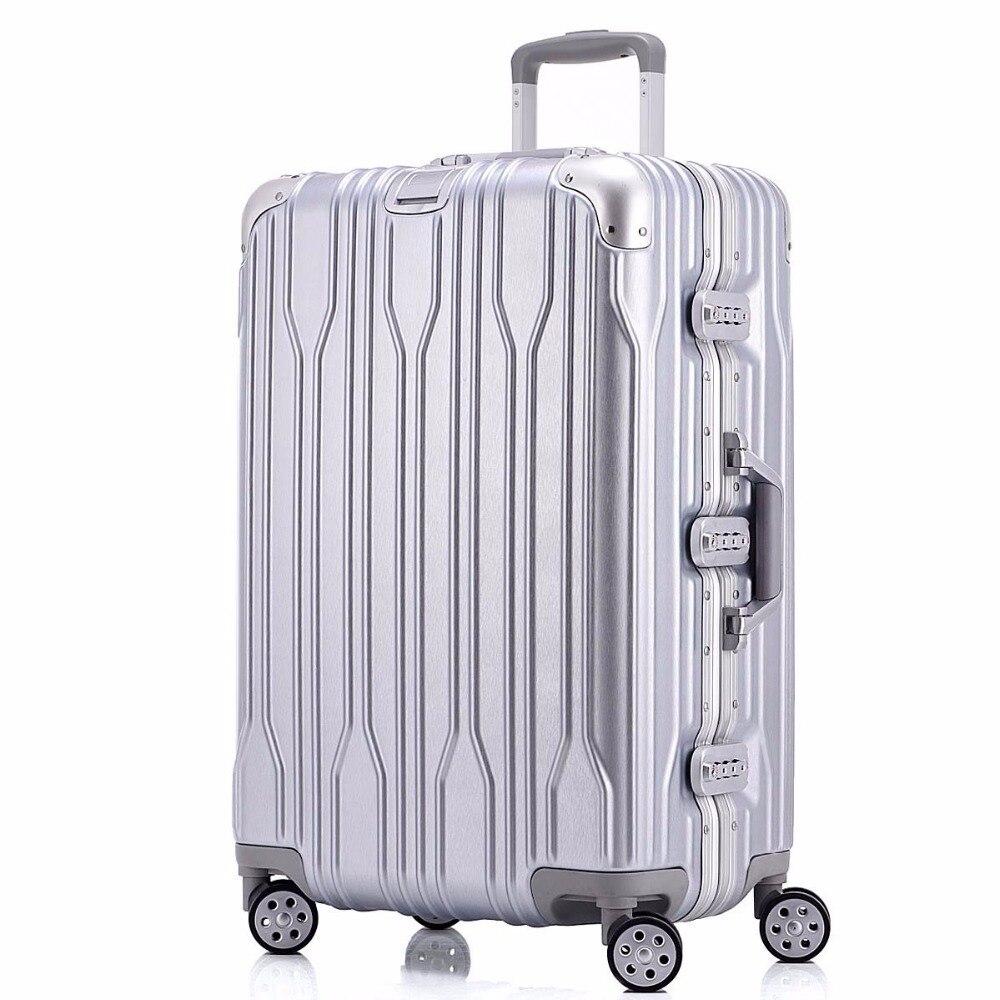 20 22 24 26 29 Zoll Aluminium Roll Gepäck Spinner Reise Koffer Original Gepäck Frauen Boarding-box Tragen Auf