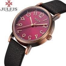 2017 top marca julius relojes para mujer vintage retro reloj de pulsera banda de cuero de cuarzo reloj femenino relojes reloj mujer montre femme