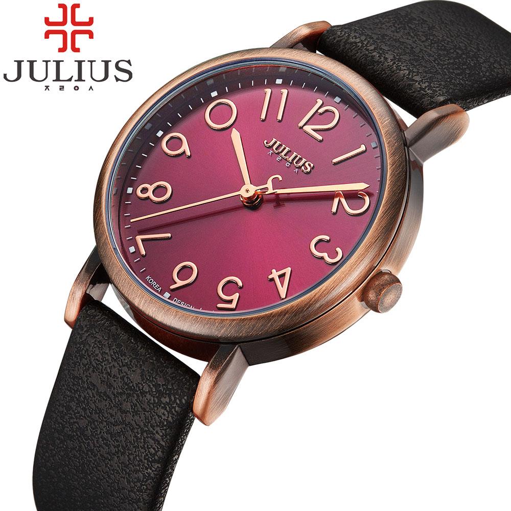 Prix pour 2017 top marque julius femmes montres vintage rétro montre-bracelet en cuir bande quartz-montre femme horloge relojes mujer montre femme