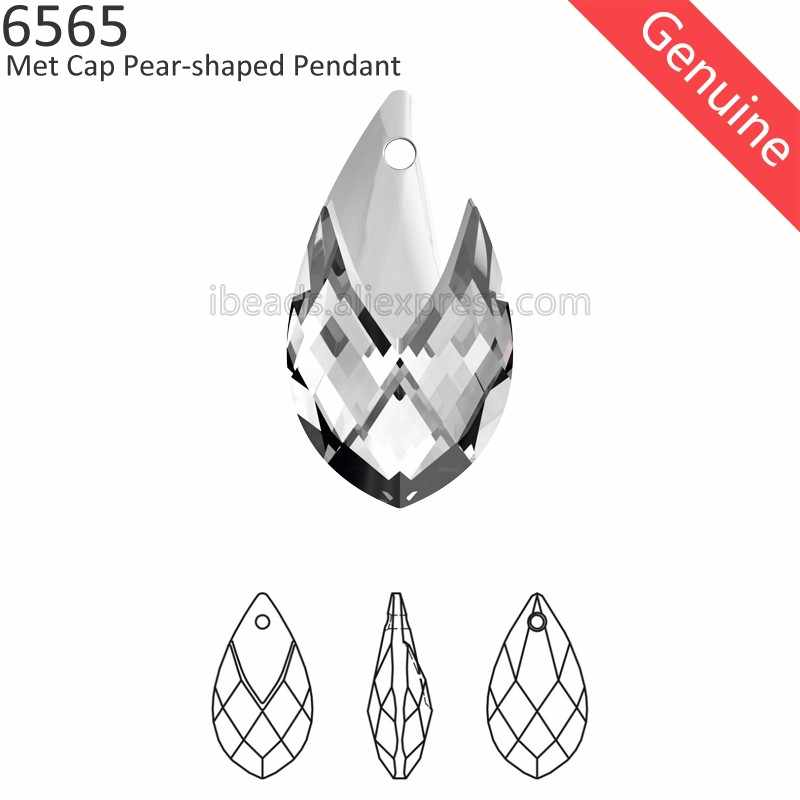 (1 piece) 100% Original crystal from Swarovski 6565 Met Cap Pear-shaped pendant Austria loose Rhinestone for DIY jewelry making