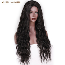 AISI HAIR Long Wavy Black Wigs Brown and Red Wave Synthetic Wig