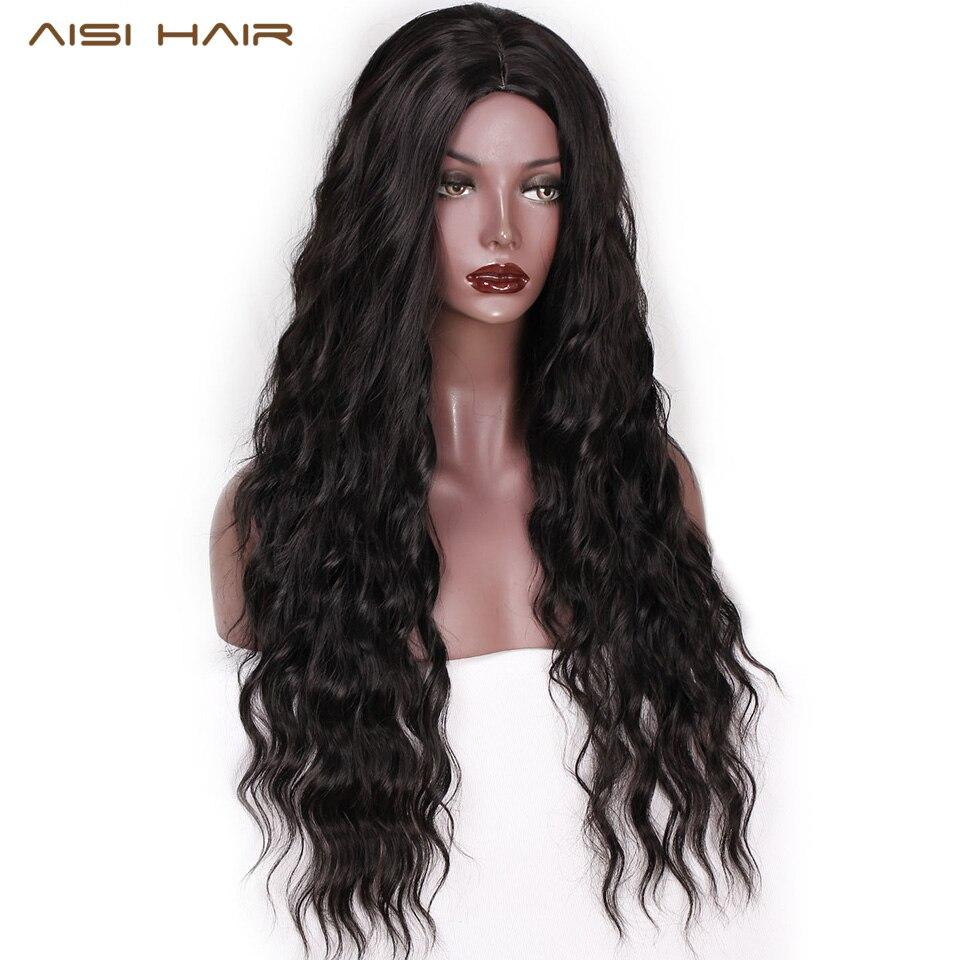 AISI pelo 26 pulgadas largo ondulado negro pelucas Ombre marrón y Rojo onda peluca sintética para las mujeres naturales de la parte media pelo resistente al calor