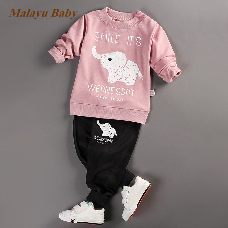 Malayu Baby  Kids Clothing Sets Baby Boys Girls Cartoon Elephant Cotton Set autumn Children Clothes Child T-Shirt+Pants Suit