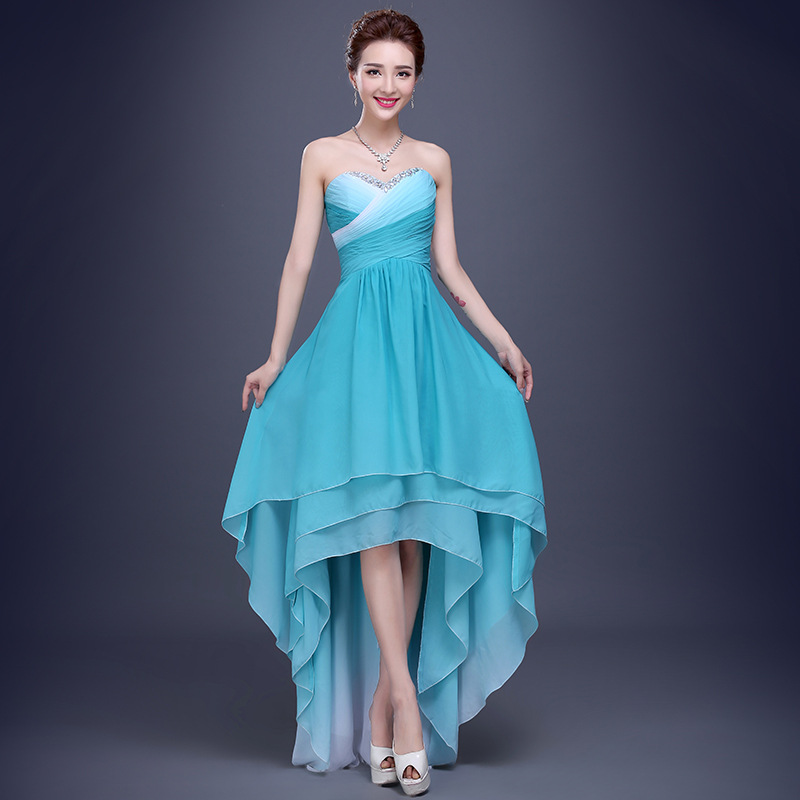 86b6300be58 2015 Cheap Gradient Chiffon Turquoise High Low Prom Dresses Homecoming Dress  Formal Evening Dress Graduation Party Dress