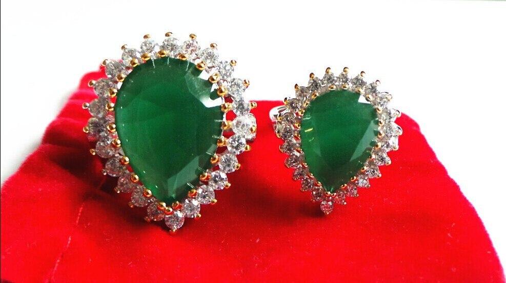 925 sterling silver plated oriental turkish ottoman hurrem sultan ring handmade green cz jewelry ring design Wedding Rings women(China)