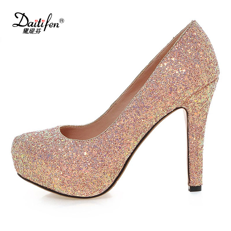 Daitifen Women Pumps High Heels white Glitter Wedding Shoes Woman High Heels Sexy Ladies Shoes Women High Heel Pumps [saziae] red bottom high heels women pumps glitter high heel shoes woman sexy wedding party shoes gold black female sexy pumps