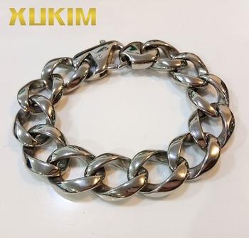 Xukim joyería de plata de alta calidad 8 pulgadas 9 pulgadas de alta de acero inoxidable pulido 316 pulsera de los hombres joyería de moda