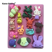 Bear Rabbit Fox Pig Cat Shape 3D Silicone Mold, Jelly, Chocolate, Soap, DIY  Kitchen Cake Decoration C758