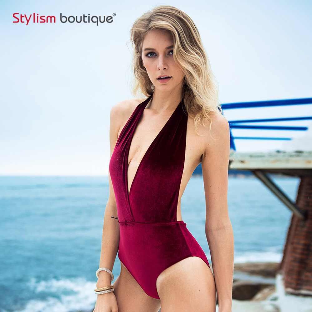 d2868d4d3a 2018 Newest Velvet Swimsuit Women Halter Swimwear Deep V One Piece Swimsuit  Backless Monokini Bathing Suit