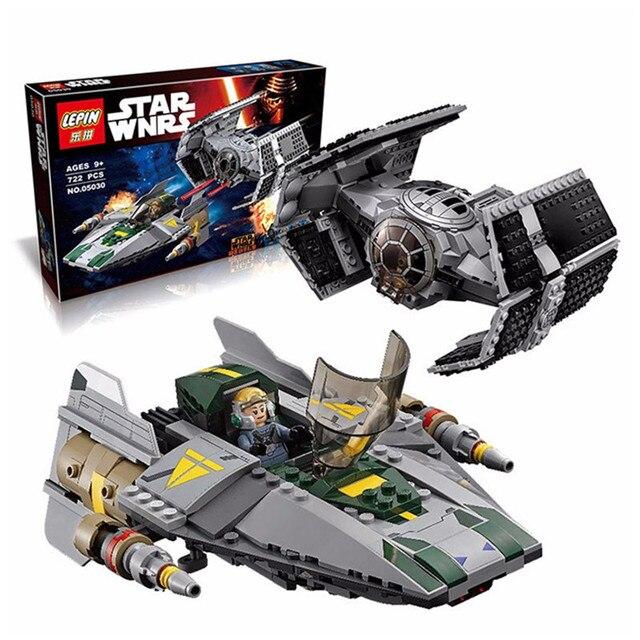 722 Unids LEPIN 05030 Rogue Uno Stars Wars Vader TIE Avanzado VS A-wing Starfighter Modelo Bloques de Construcción Compatible con 75150