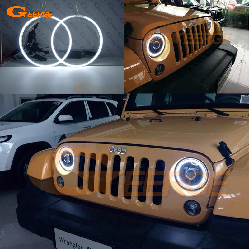 For Jeep Wrangler CJ TJ JK 7 Headlamp Excellent angel eyes Ultra bright headlight illumination CCFL Angel Eyes kit Halo Ring ...