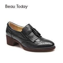 13bfe6f8 BeauToday mocasines de las mujeres de cuero genuino de vaca Oxford de punta  redonda Slip-en primavera otoño zapatos de las señor.