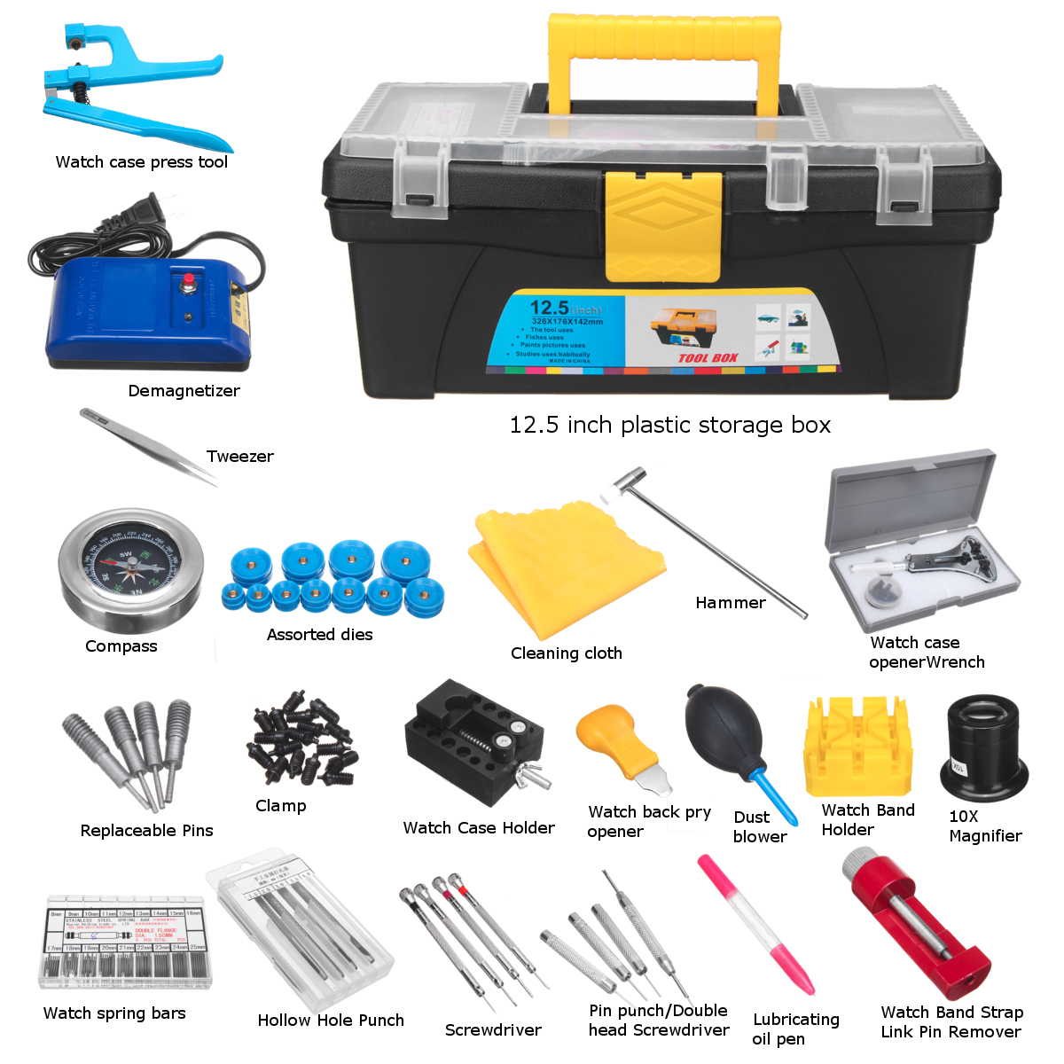 46pcs DIY Hand Tool Sets Watch Repair Kit Clock Repair Tool Kit Back Case Pin Link Spring Strap Remover Opener Tool Kit Set watch link removal kit adjuster repair tool set with 5 pins