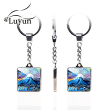 Luyun Van Goghs Starry Sky And Comics Pattern Double-sided Keychain Square Crystal Glass Cute Couple wholesale