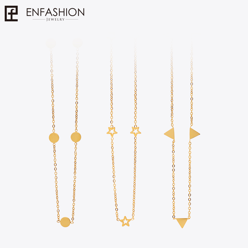 Enfashion Geometric Triangle Circle Star Choker Necklace Gold color Necklaces Pendants Stainless Steel Necklace Women chocker половник gipfel primadonna 2889