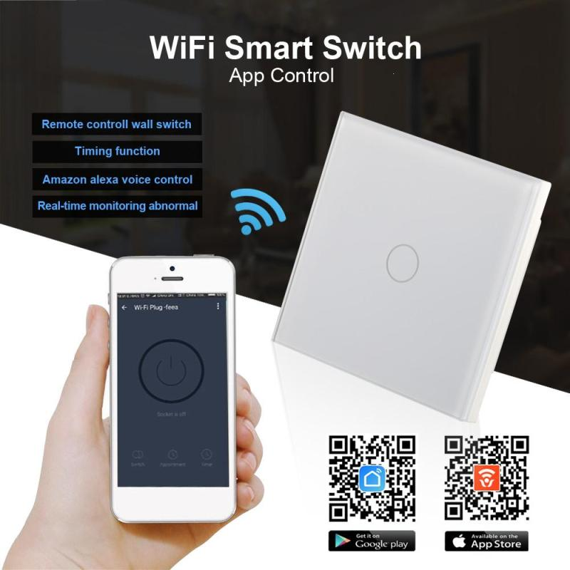 QIACHIP WiFi Smart Switch 1CH Wireless Remote Control light wall switch Touch Panel APP Control Work with Amazon Alexa UK Plug 4 ewelink us type 2 gang wall light smart switch touch control panel wifi remote control via smart phone work with alexa ewelink