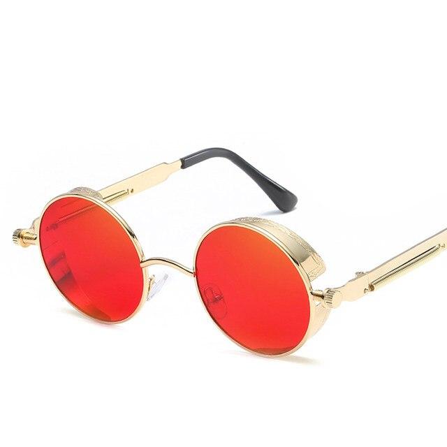 Peekaboo Alta qualidade retro mulheres óculos de sol redondos steampunk  armação de metal do vintage rodada óculos de sol espelho uv400 feminino  masculino 528c919d3c
