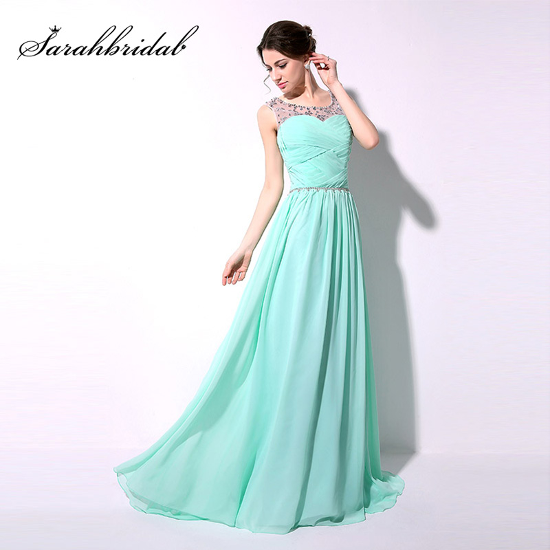 Cheap A-Line Long Mint Chiffon   Prom     Dresses   2018 with Crystal Sheer Neck Beaded Waist Sexy Evening Party Gown in Stock SD184